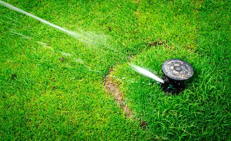 Foto de Water sprinkler in action watering the grass - Imagen libre de derechos
