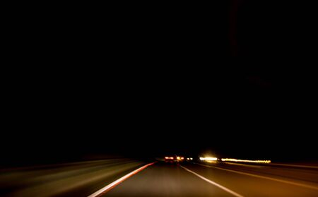 Photo pour A driver or passenger's view from their seat during a long journey at night. - image libre de droit