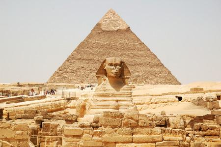 Spynx face on the Giza pyramid background, Cairo, Egypt