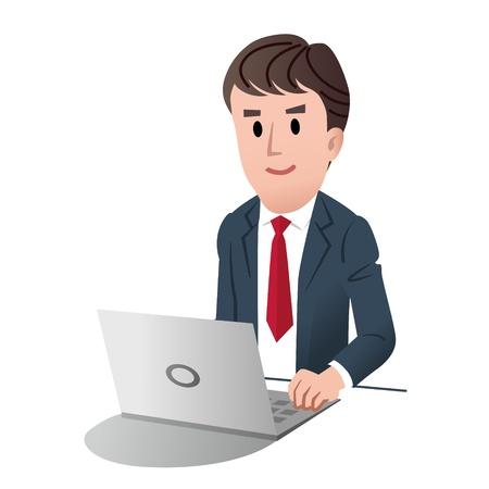 Ilustración de male businessman at a laptop computer against white background - Imagen libre de derechos