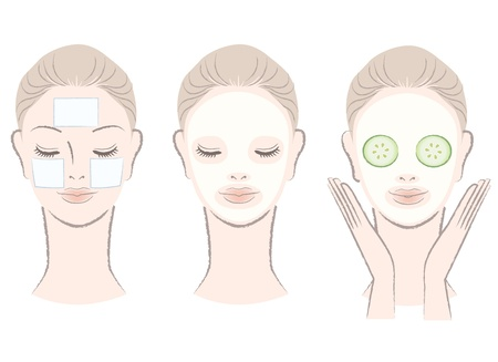 Set of elegant, beautiful woman with face mask  Clay,Cotton pad,Cucumber slice mask  Isolated, Hand-drawn like style
