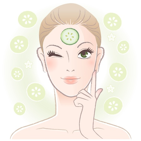 Pretty woman applying cucumber slice mask on her forehead  Vector  Transparency
