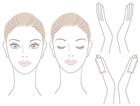Illustration for Beautiful woman head and hands with without cotton seat  For facialcare  - Royalty Free Image