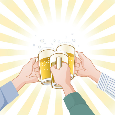 Toasting with beer.File contains Clipping mask, Gradients.