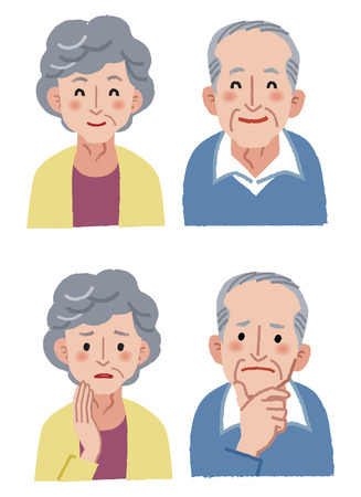 Elderly couple facial expression - happy and anxiety