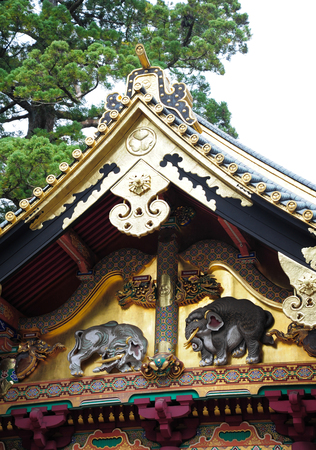 Detail of temple Toshogu Shrine , Nikko, Japan.
