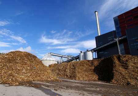Photo pour bio power plant with storage of wooden fuel                     - image libre de droit
