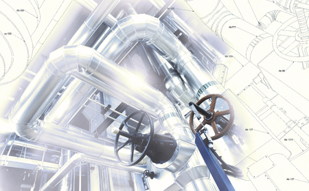 Photo for Sketch of piping design mixed with industrial equipment photo - Royalty Free Image