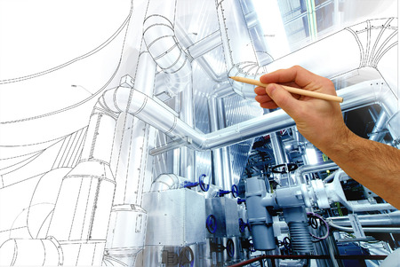 Photo pour man's hand draws a design of factory combined with photo of modern industrial power plant - image libre de droit