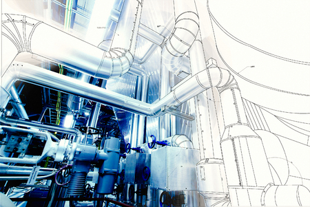 Photo pour wireframe computer cad design of pipelines for modern industrial power plant - image libre de droit