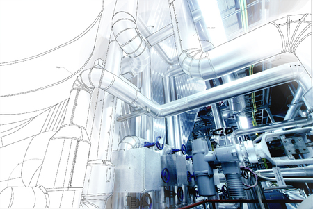 Photo for wireframe computer cad design of pipelines for modern industrial power plant - Royalty Free Image