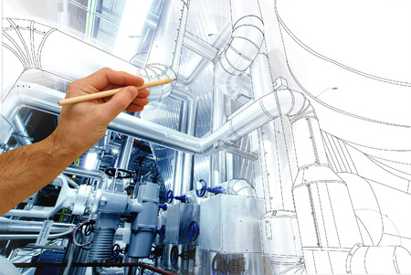 Photo for man's hand draws a design of factory combined with photo of modern industrial power plant - Royalty Free Image
