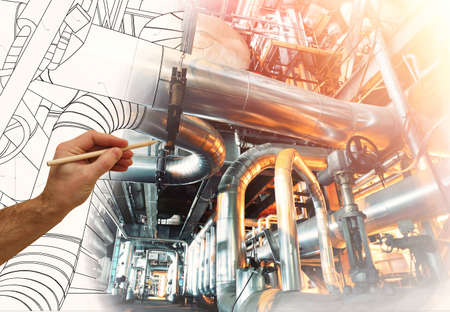 Foto de man's hand draws a design of factory combined with photo of modern industrial power plant - Imagen libre de derechos