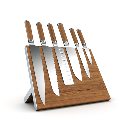 set of knives on a magnetic base isolated on white background