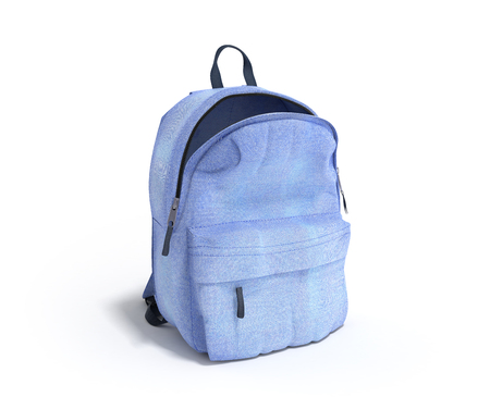 Photo for open Backpack bag school 3d render on white gradient - Royalty Free Image