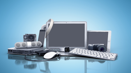 Foto de collection of consumer electronics 3D render on blue background - Imagen libre de derechos