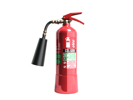 Photo for Carbon Dioxide Fire extinguisher 3d render on white background no shadow - Royalty Free Image