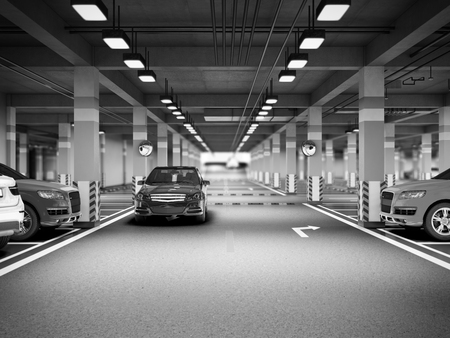 Empty modern underground parking 3d render