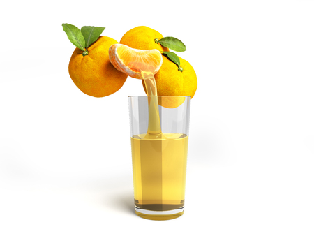 concept of fresh natural juice mandarine juice flows from fresh mandarine into a glass 3d render on white