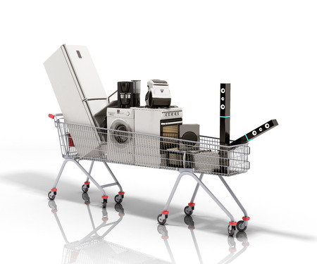 Home appliances in the shopping cart E-commerce or online shopping concept 3d render