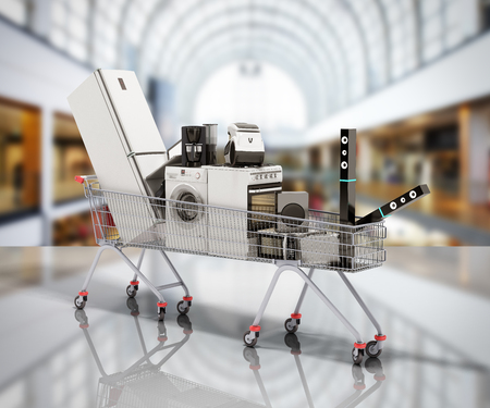 Home appliances in the shopping cart E-commerce or online shopping concept 3d render on sale
