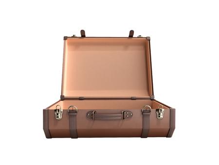 Photo pour open Vintage suitcase 3d render on white background no shadow - image libre de droit