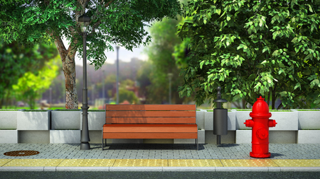 Photo for street background bench on the sidewalk 3d render image - Royalty Free Image