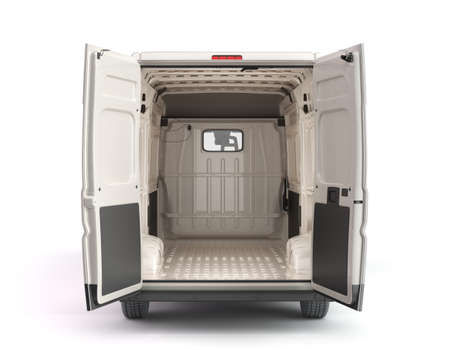 Photo for Open back of White Delivery Van Icon 3d render on white - Royalty Free Image