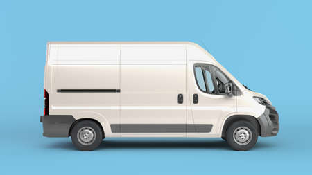 Photo for White Delivery Van Icon 3d render on blue gradient - Royalty Free Image