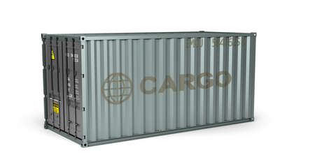 Photo pour gray metal shipping container 3d render on white - image libre de droit