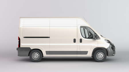Photo for White Delivery Van Icon 3d render on gray gradient - Royalty Free Image