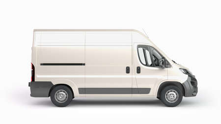 Photo for White Delivery Van Icon 3d render on white - Royalty Free Image