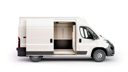 Photo for open White Delivery Van 3d render on white - Royalty Free Image