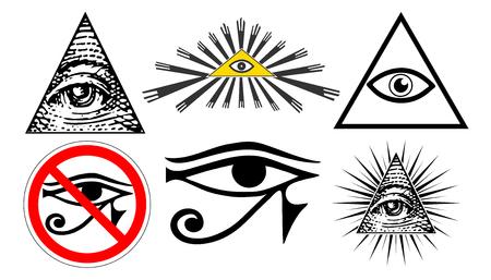 all seeing eye of providence, illuminati new world order, set vector