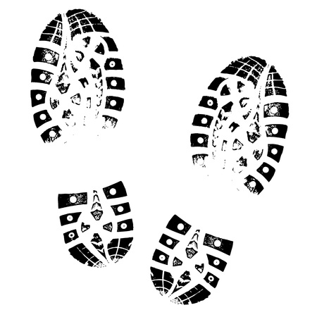 Ilustración de Boot Imprint. Human footprints shoe silhouette. Isolated on white background - Imagen libre de derechos