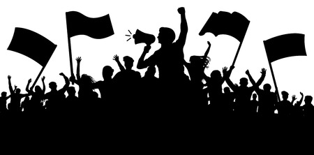 Ilustración de Crowd of people with flags, banners. Sports, mob, fans. Demonstration, manifestation, protest, strike, revolution, speaker, horn. Silhouette background vector - Imagen libre de derechos