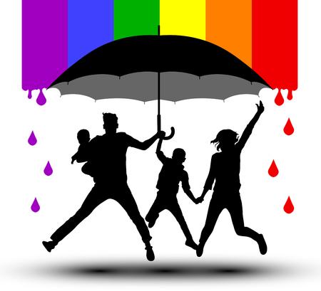 Ilustración de Family is protected by an umbrella, silhouette. Propaganda, LGBT flag. Traditional family with children - Imagen libre de derechos