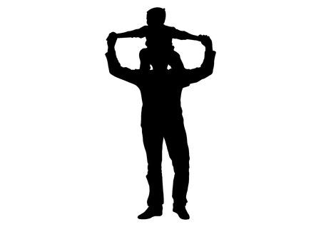 Illustration pour Child (son) sitting on shoulders of man (father) silhouette, vector - image libre de droit