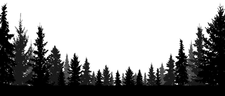 Illustration pour Forest, coniferous trees, silhouette vector background. Tree, fir, christmas tree, spruce, pine - image libre de droit