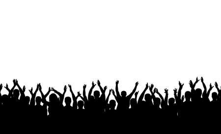 Illustration pour Seamless pattern. Applause crowd people silhouette. Cheerful crowd cheering. - image libre de droit