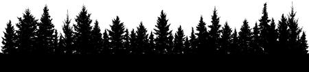 Illustration pour Fir trees silhouette. Forest, vector - image libre de droit