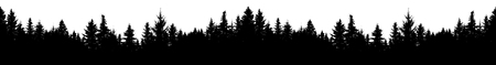 Illustration pour Seamless silhouette of coniferous forest, vector. Panorama evergreen Christmas Tree, spruce, fir. Isolated vector on white background - image libre de droit