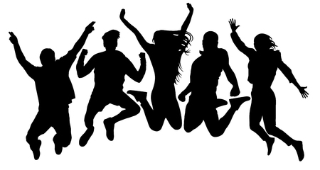 Illustration pour People jump vector silhouette. Jumping friends youth background. Crowd people, close to each other. Cheerful man and woman isolated - image libre de droit