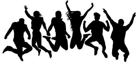 Illustration pour Jumping friends youth background. People jump vector silhouette. Cheerful man and woman isolated. Crowd jumping people, close to each other - image libre de droit