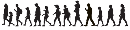 Illustration pour Silhouettes of moving people (crowd), isolated. Set, vector illustration. - image libre de droit