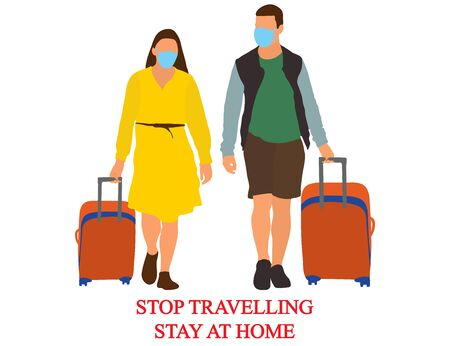 Illustration pour Tourists with baggages, stop travelling, stay at home because of coronavirus. Vector illustration. - image libre de droit