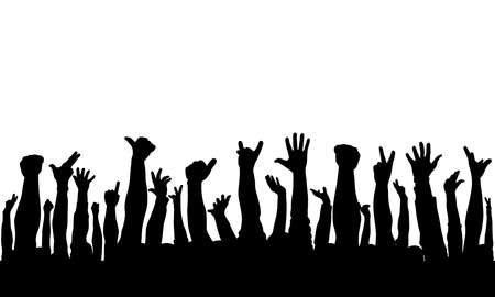 Illustration for Raised hands of crowd of people, silhouettes. Vector illustration - Royalty Free Image
