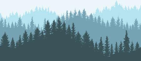 Illustration pour Forest in mountains, silhouette. Beautiful landscape. Vector illustration. - image libre de droit