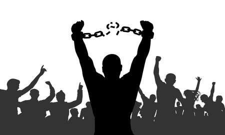 Illustration for Silhouette of man broking chains in handcuffs on background of cheerful crowd. Concept of freedom. Vector illustration - Royalty Free Image