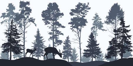 Illustration pour Wallpaper woodland, silhouette of coniferous forest and animals. - image libre de droit